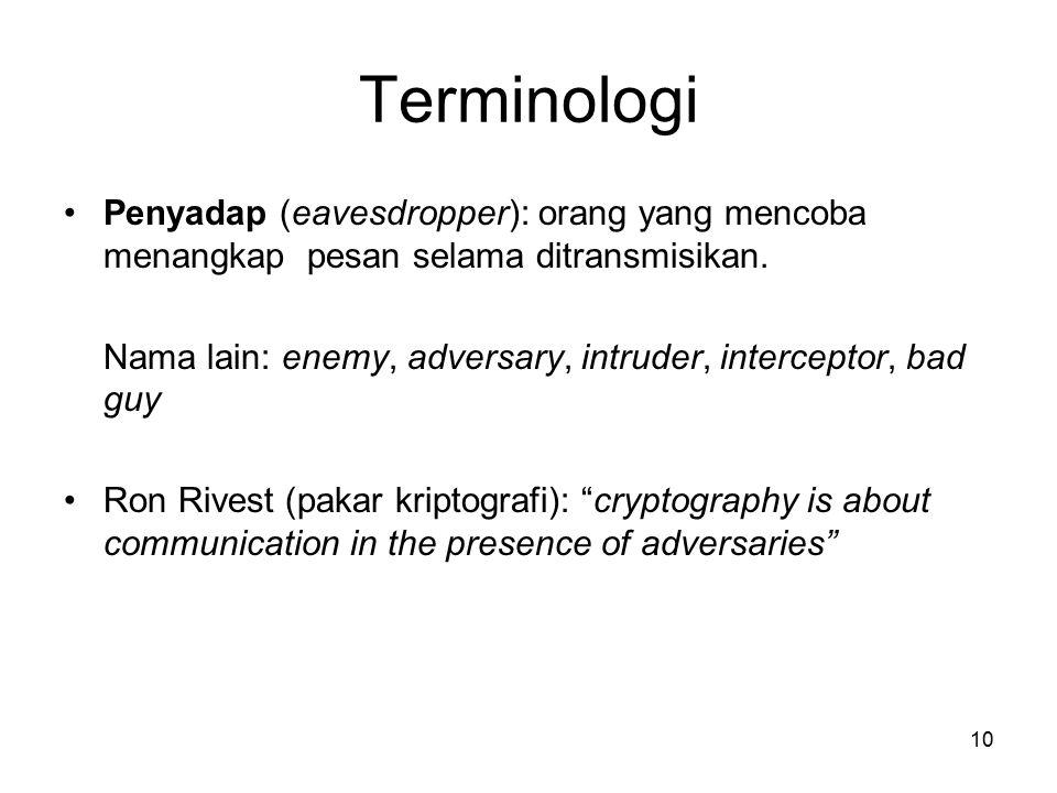 Terminologi Penyadap (eavesdropper): orang yang mencoba menangkap pesan selama ditransmisikan.