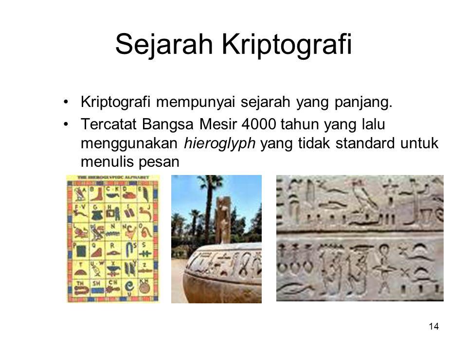 Sejarah Kriptografi Kriptografi mempunyai sejarah yang panjang.