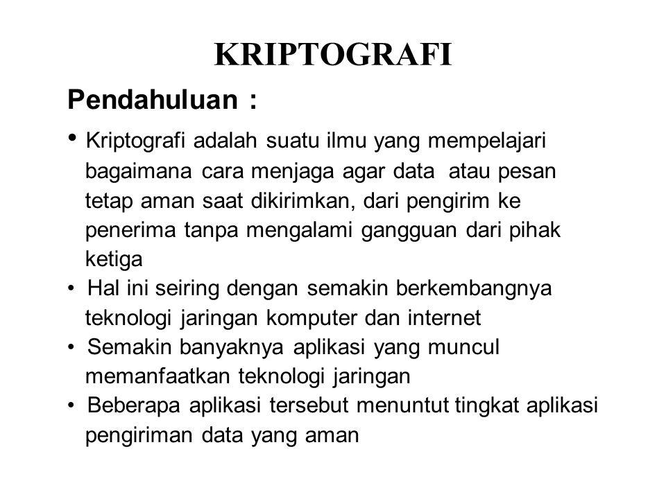 KRIPTOGRAFI Kriptografi adalah suatu ilmu yang mempelajari