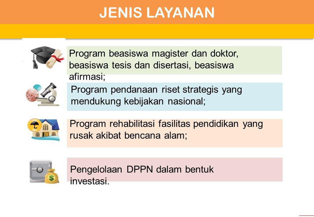 JENIS LAYANAN Program beasiswa magister dan doktor, beasiswa tesis dan disertasi, beasiswa afirmasi;