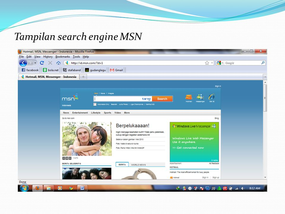Tampilan search engine MSN