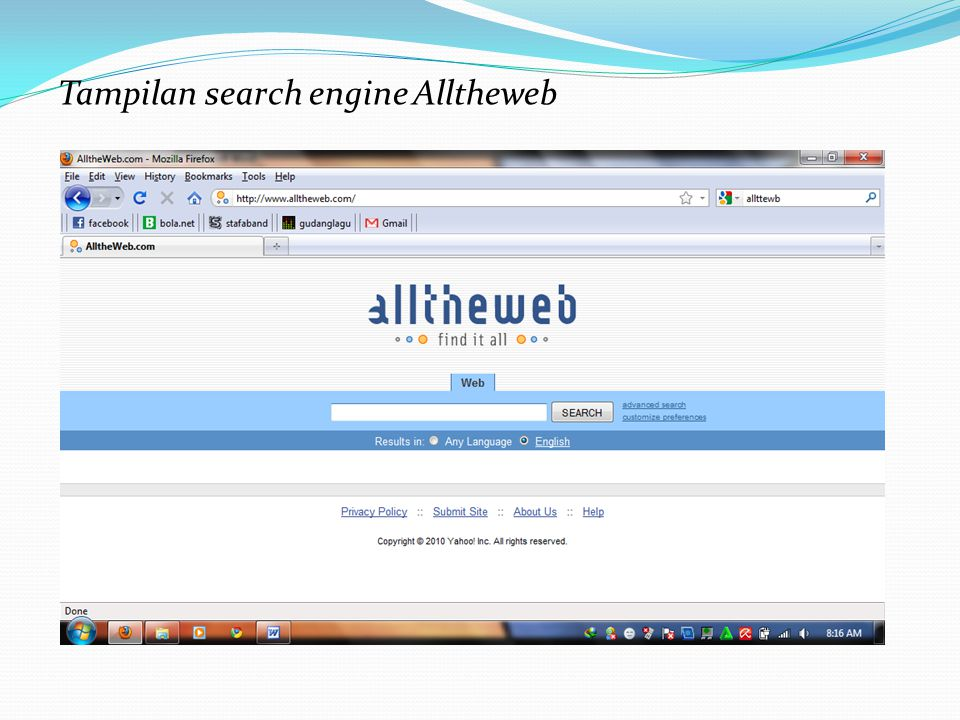 Tampilan search engine Alltheweb