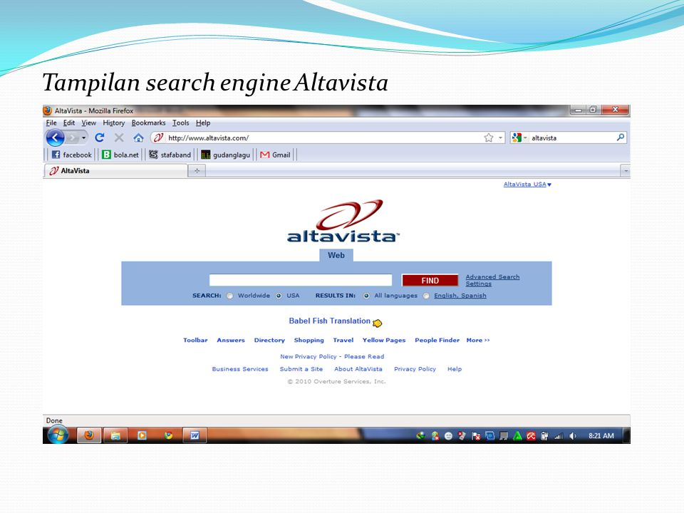 Tampilan search engine Altavista