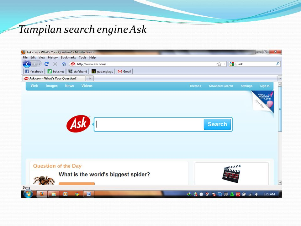 Tampilan search engine Ask