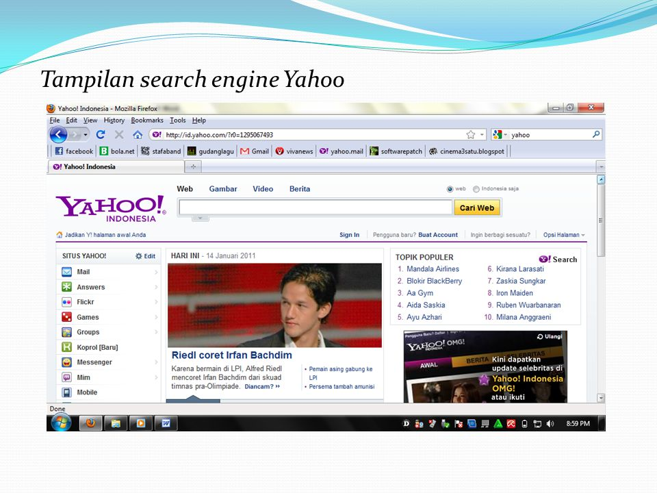 Tampilan search engine Yahoo