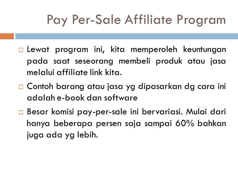 Pay Per-Sale Affiliate Program