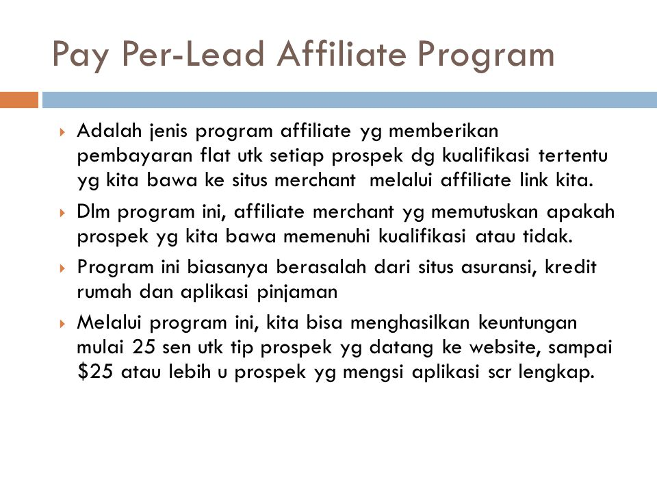 Pay Per-Lead Affiliate Program