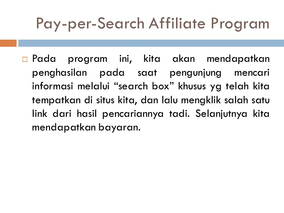 Pay-per-Search Affiliate Program