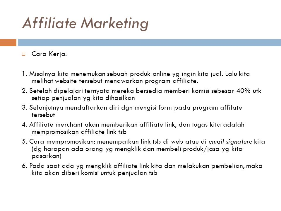 Affiliate Marketing Cara Kerja: