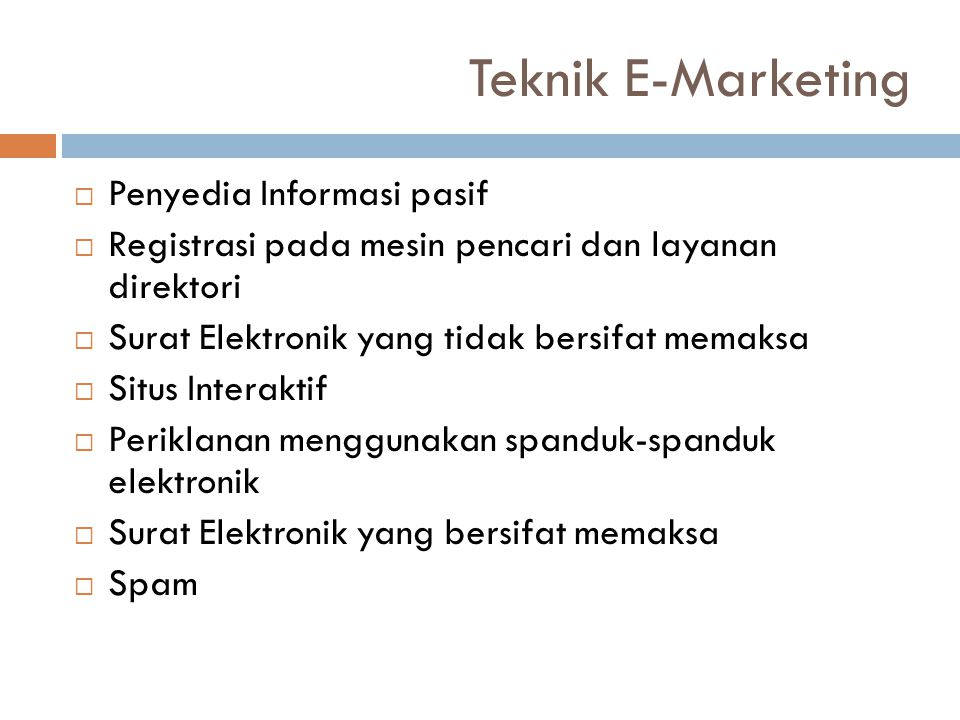 Teknik E-Marketing Penyedia Informasi pasif