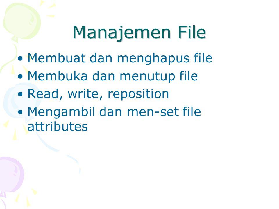 Manajemen File Membuat dan menghapus file Membuka dan menutup file