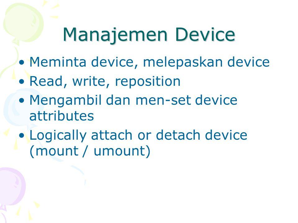 Manajemen Device Meminta device, melepaskan device
