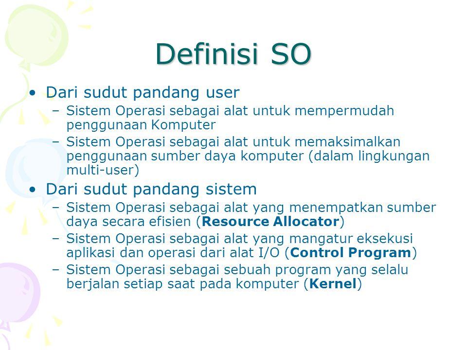 Definisi SO Dari sudut pandang user Dari sudut pandang sistem