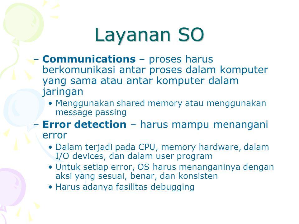 Layanan SO Communications – proses harus berkomunikasi antar proses dalam komputer yang sama atau antar komputer dalam jaringan.