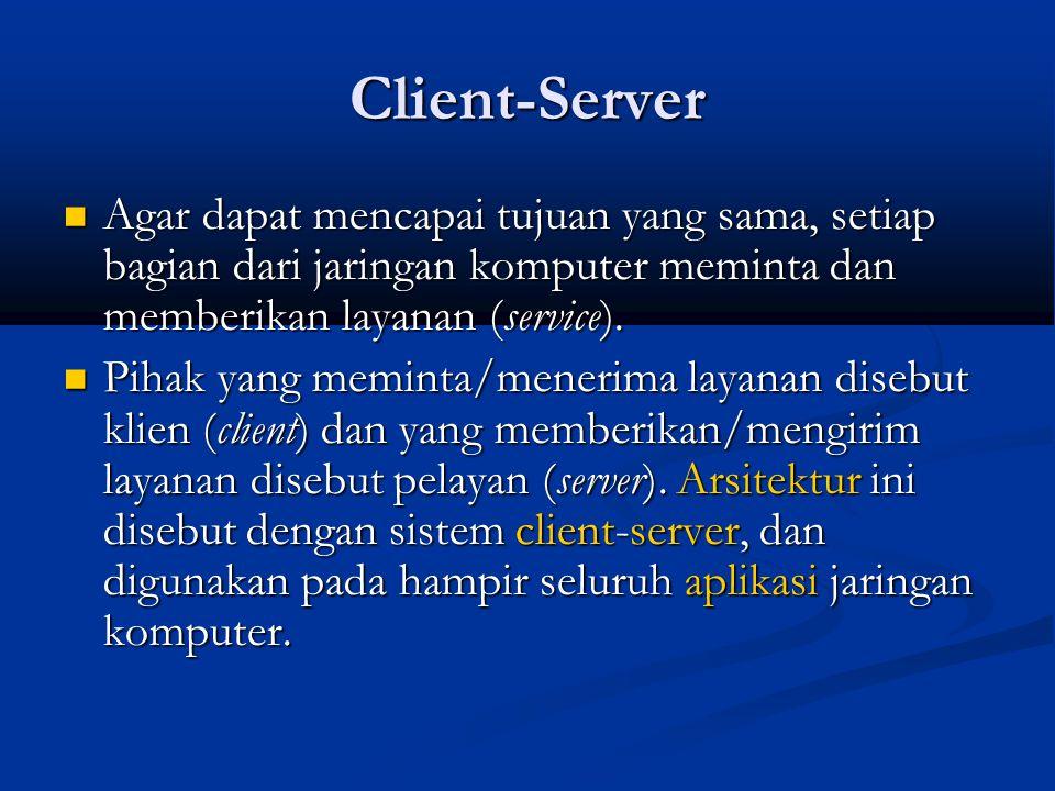 Client-Server Agar dapat mencapai tujuan yang sama, setiap bagian dari jaringan komputer meminta dan memberikan layanan (service).
