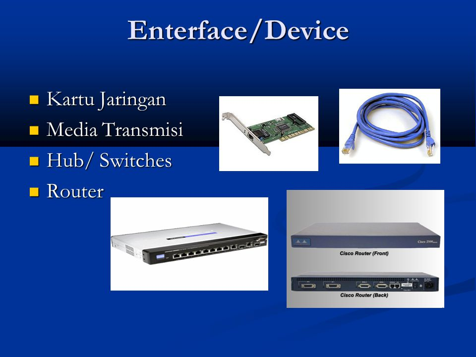 Enterface/Device Kartu Jaringan Media Transmisi Hub/ Switches Router