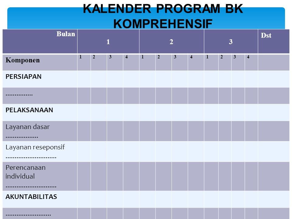 KALENDER PROGRAM BK KOMPREHENSIF