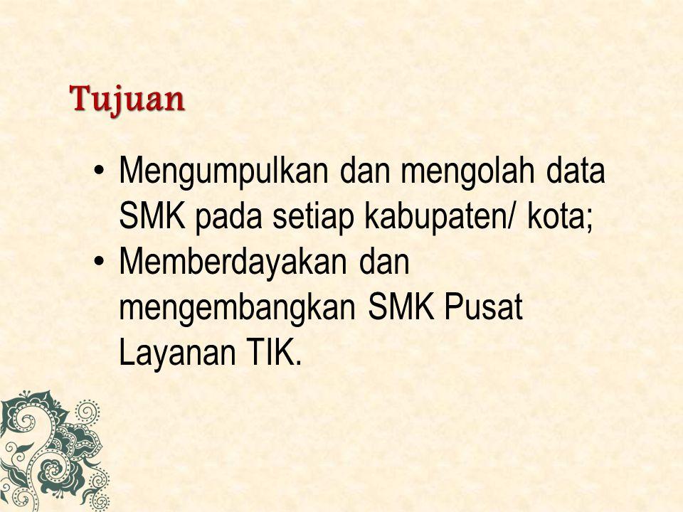Tujuan Mengumpulkan dan mengolah data SMK pada setiap kabupaten/ kota; Memberdayakan dan mengembangkan SMK Pusat Layanan TIK.