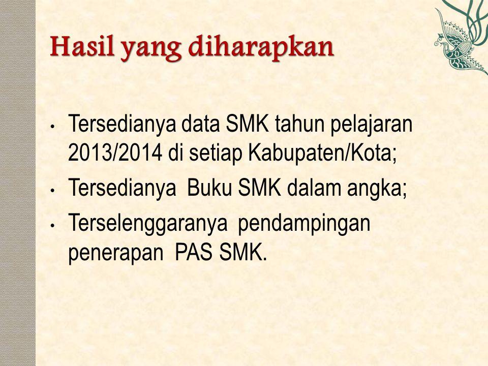 Hasil yang diharapkan Tersedianya data SMK tahun pelajaran 2013/2014 di setiap Kabupaten/Kota; Tersedianya Buku SMK dalam angka;