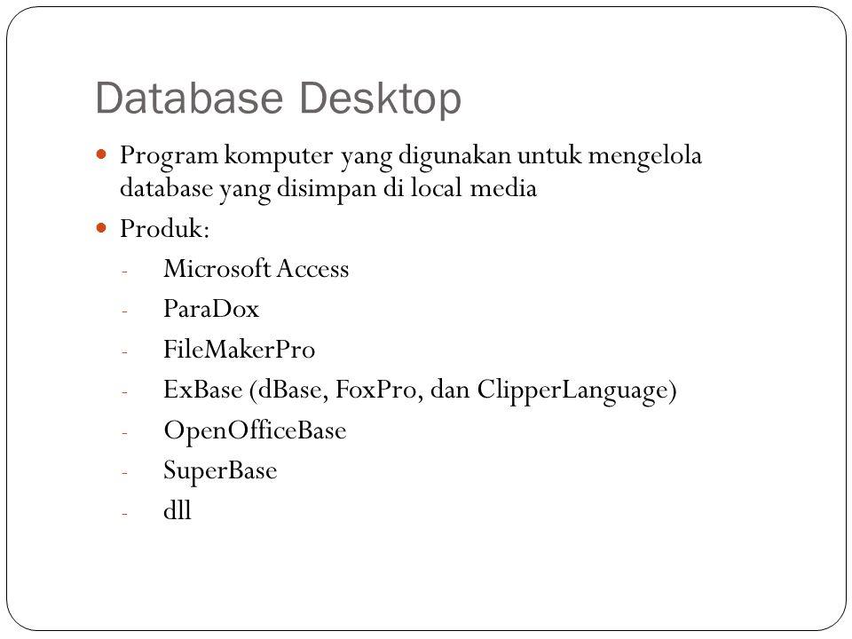 Database Desktop Program komputer yang digunakan untuk mengelola database yang disimpan di local media.