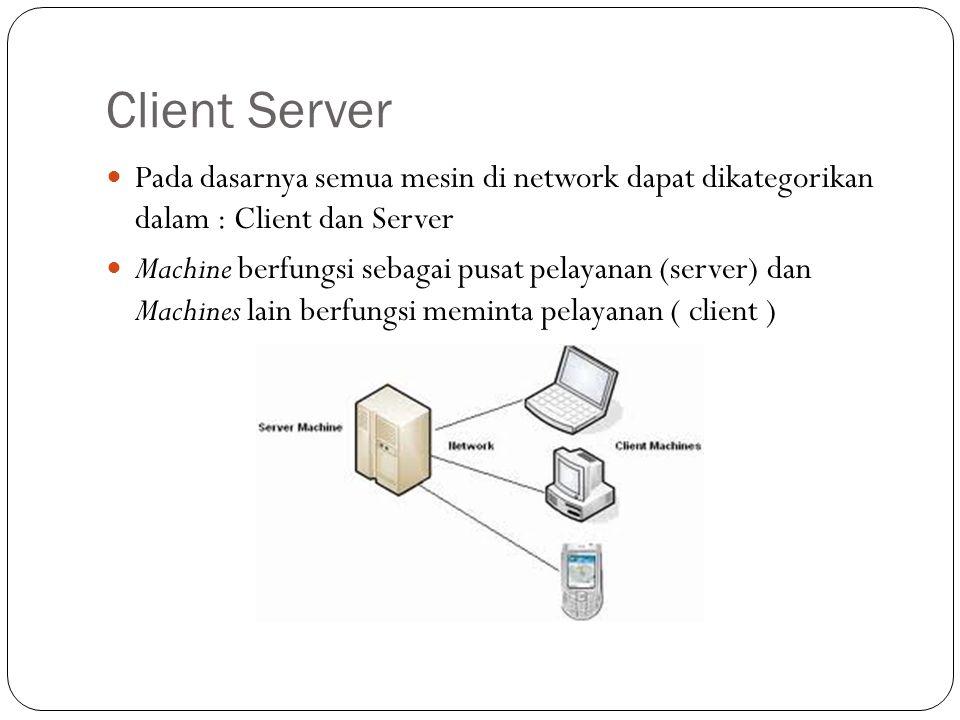 Client Server Pada dasarnya semua mesin di network dapat dikategorikan dalam : Client dan Server.
