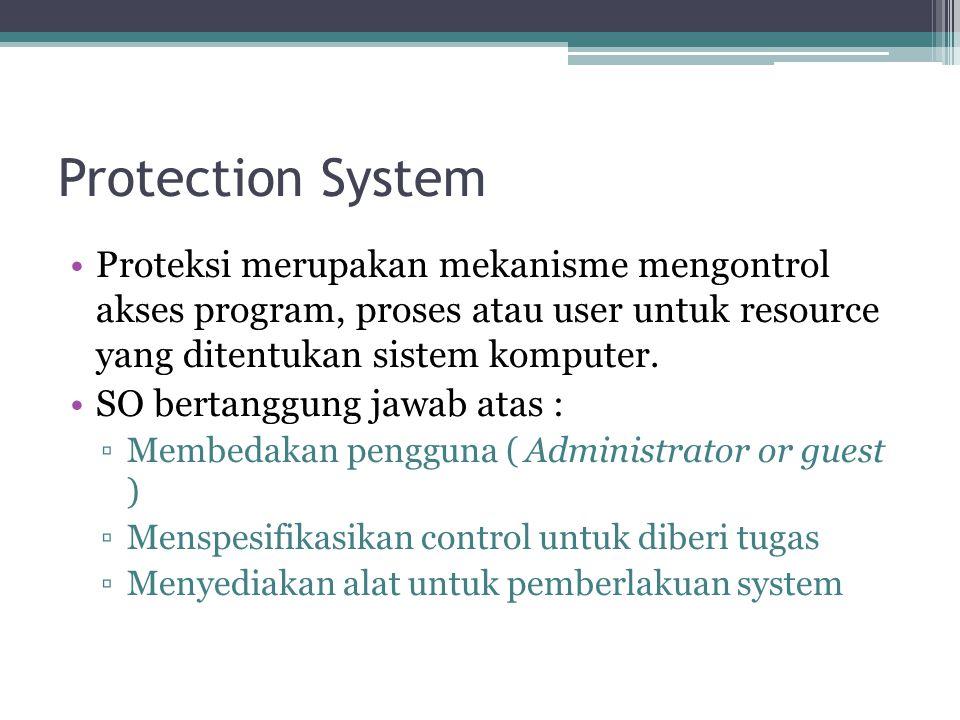 Protection System Proteksi merupakan mekanisme mengontrol akses program, proses atau user untuk resource yang ditentukan sistem komputer.