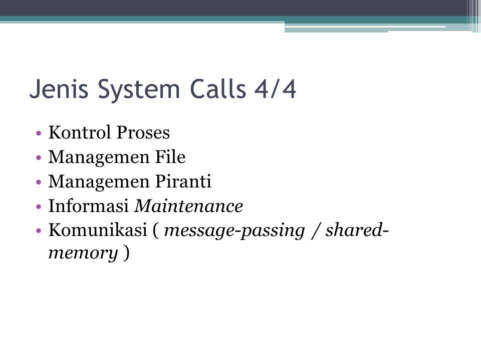 Jenis System Calls 4/4 Kontrol Proses Managemen File Managemen Piranti