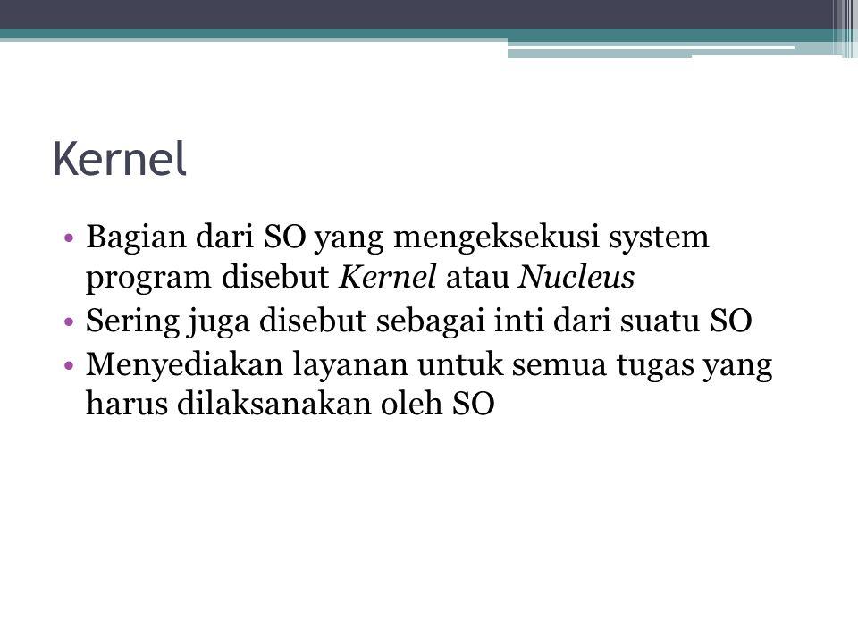 Kernel Bagian dari SO yang mengeksekusi system program disebut Kernel atau Nucleus. Sering juga disebut sebagai inti dari suatu SO.