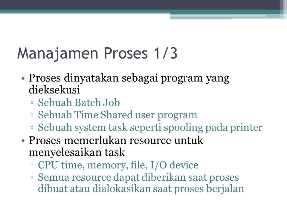 Manajamen Proses 1/3 Proses dinyatakan sebagai program yang dieksekusi