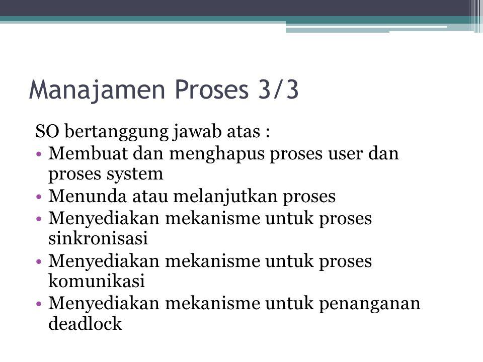 Manajamen Proses 3/3 SO bertanggung jawab atas :