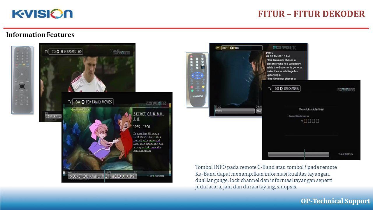 FITUR – FITUR DEKODER Information Features OP-Technical Support