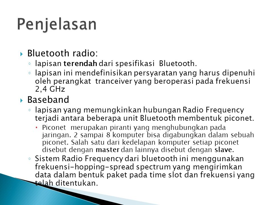 Penjelasan Bluetooth radio: Baseband