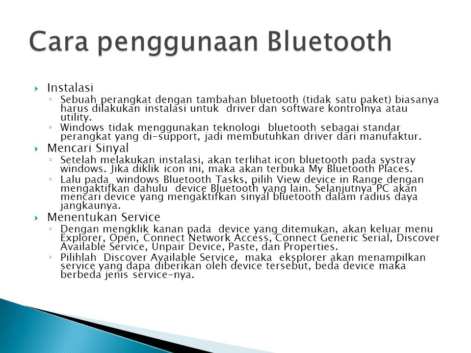 Cara penggunaan Bluetooth