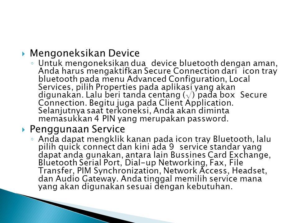 Mengoneksikan Device Penggunaan Service