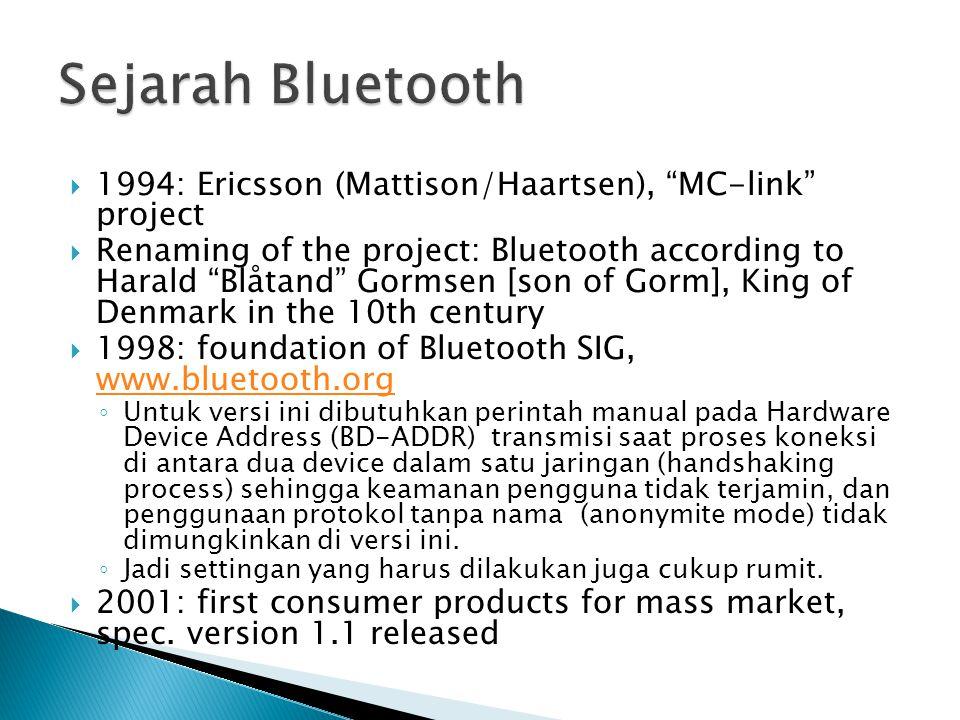 Sejarah Bluetooth 1994: Ericsson (Mattison/Haartsen), MC-link project.