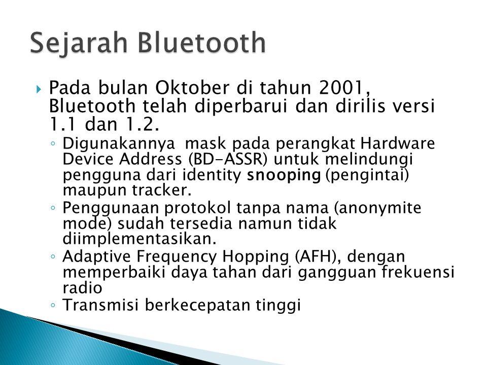Sejarah Bluetooth Pada bulan Oktober di tahun 2001, Bluetooth telah diperbarui dan dirilis versi 1.1 dan 1.2.