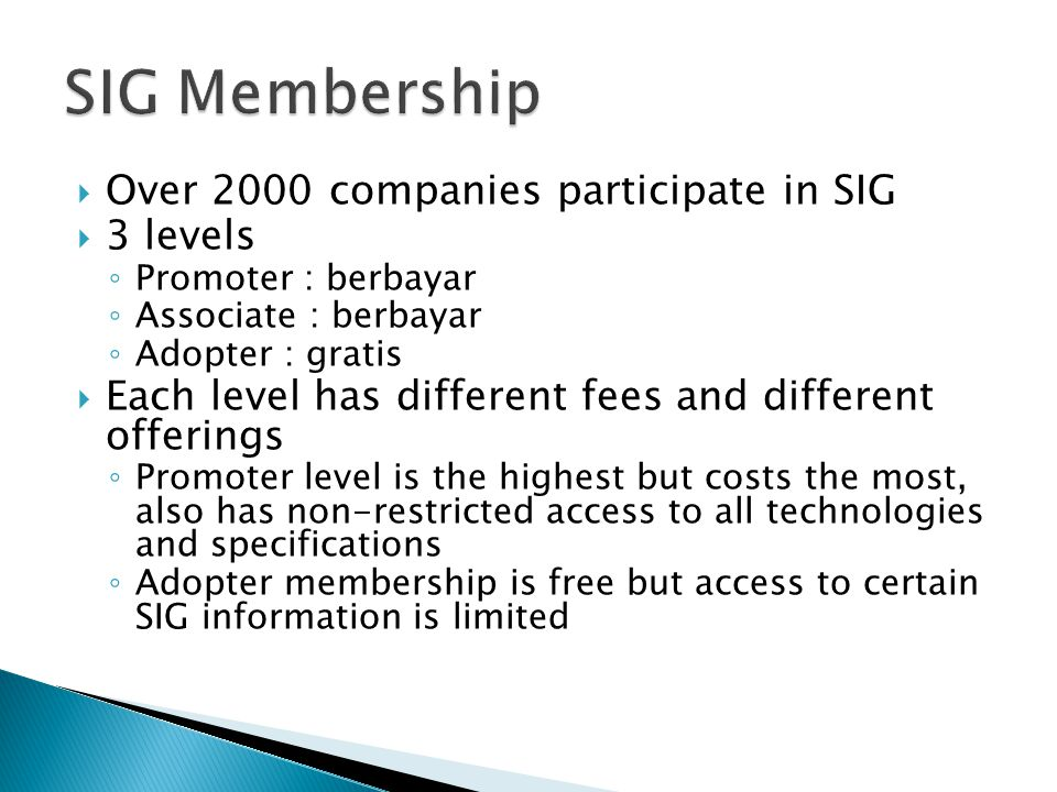 SIG Membership Over 2000 companies participate in SIG 3 levels