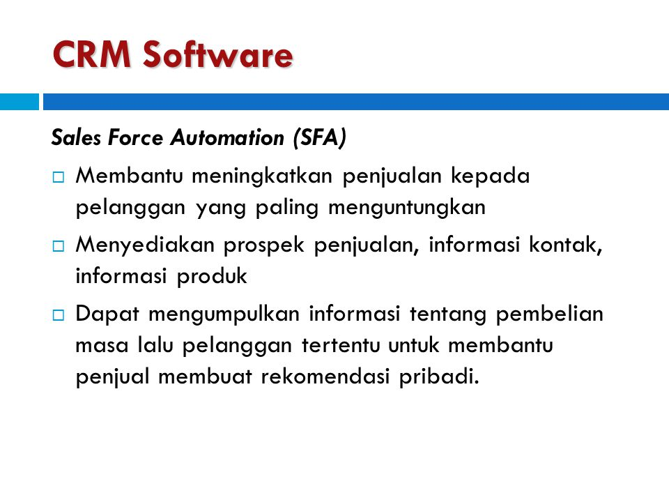 CRM Software Sales Force Automation (SFA)