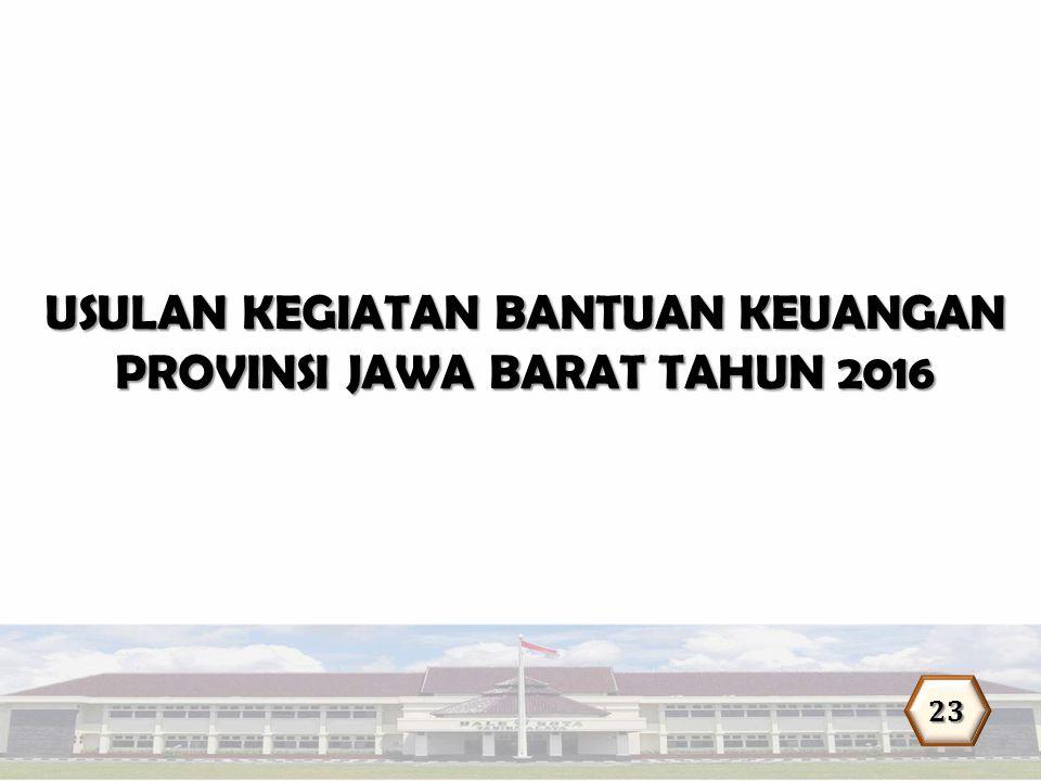 USULAN KEGIATAN BANTUAN KEUANGAN PROVINSI JAWA BARAT TAHUN 2016