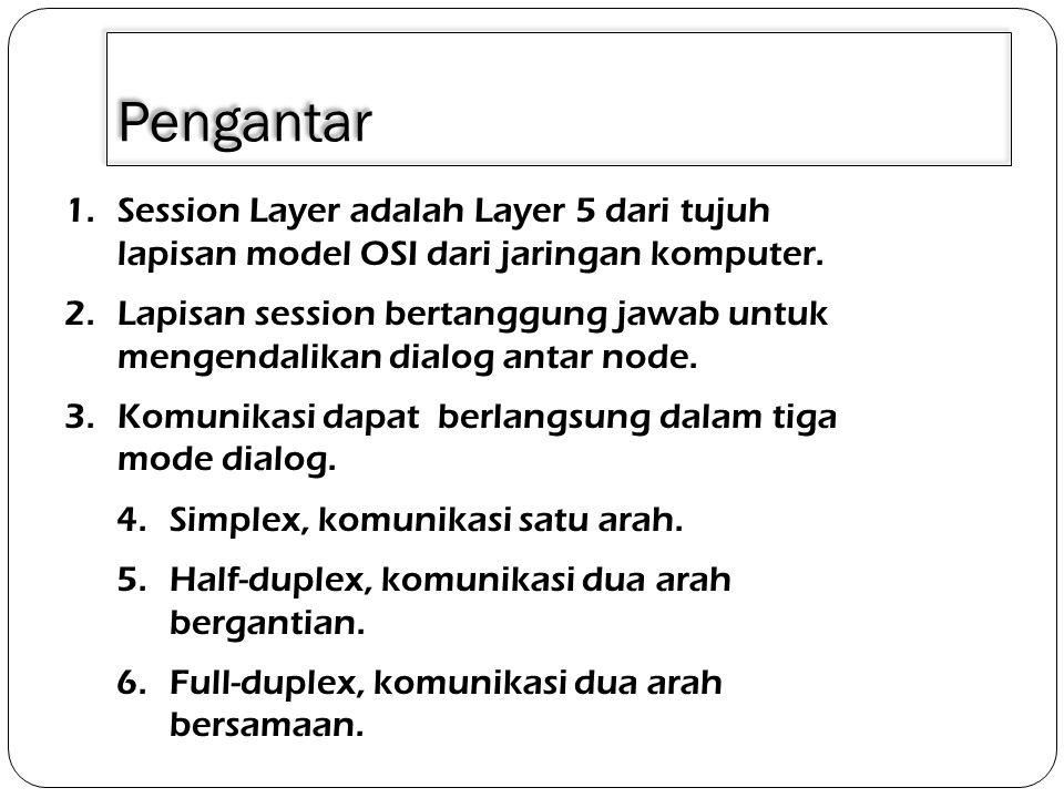 3/30/2011 Pengantar. Session Layer adalah Layer 5 dari tujuh lapisan model OSI dari jaringan komputer.