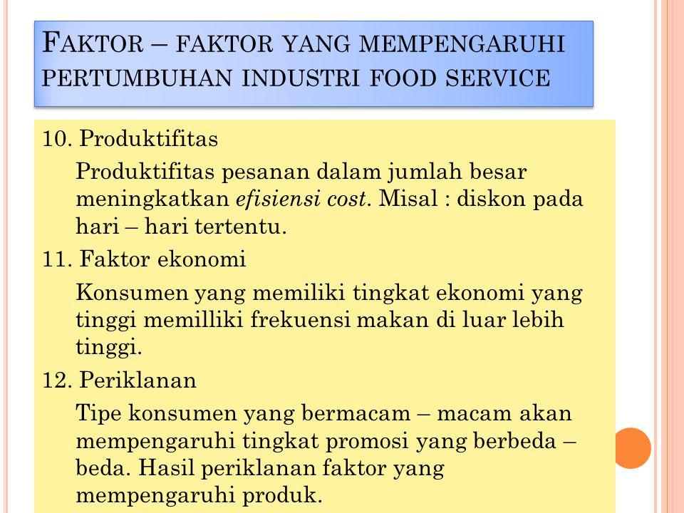 Faktor – faktor yang mempengaruhi pertumbuhan industri food service