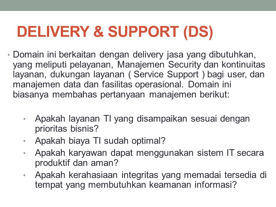 DELIVERY & SUPPORT (DS)