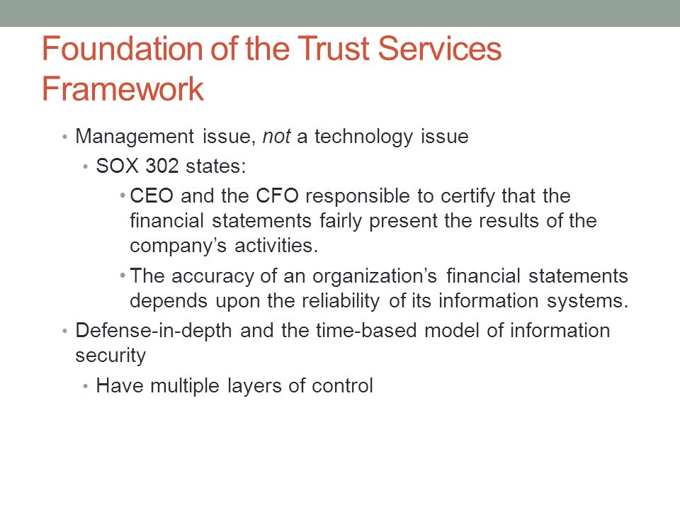 Foundation of the Trust Services Framework