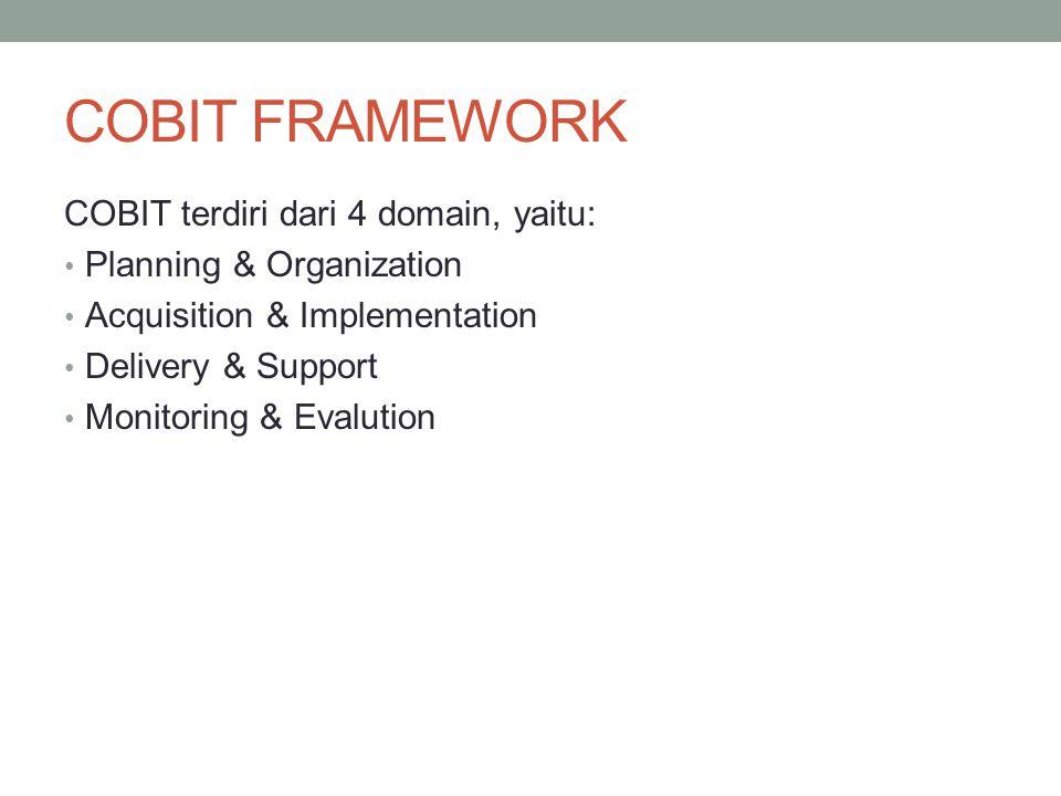 COBIT FRAMEWORK COBIT terdiri dari 4 domain, yaitu: