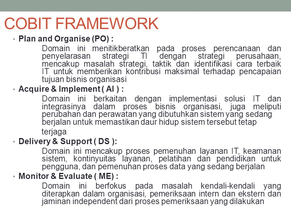 COBIT FRAMEWORK Plan and Organise (PO) :