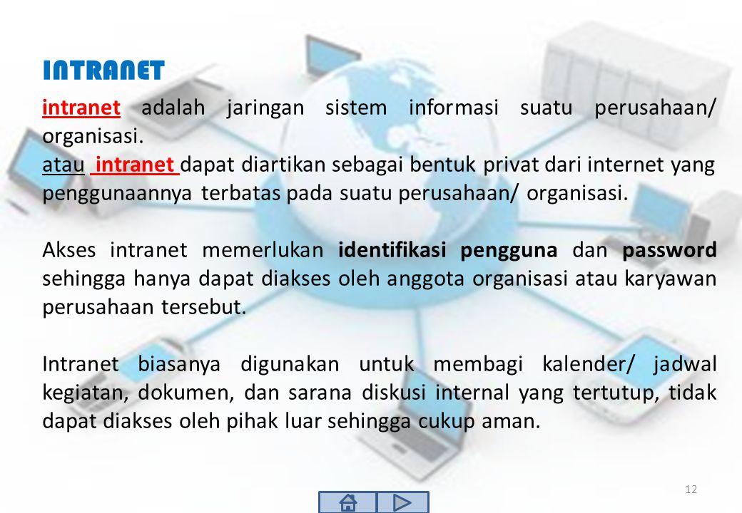 INTRANET intranet adalah jaringan sistem informasi suatu perusahaan/ organisasi.