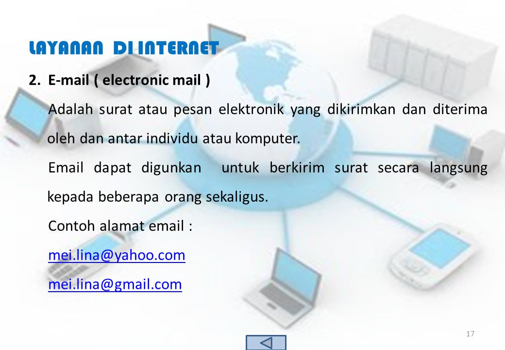 LAYANAN DI INTERNET E-mail ( electronic mail )
