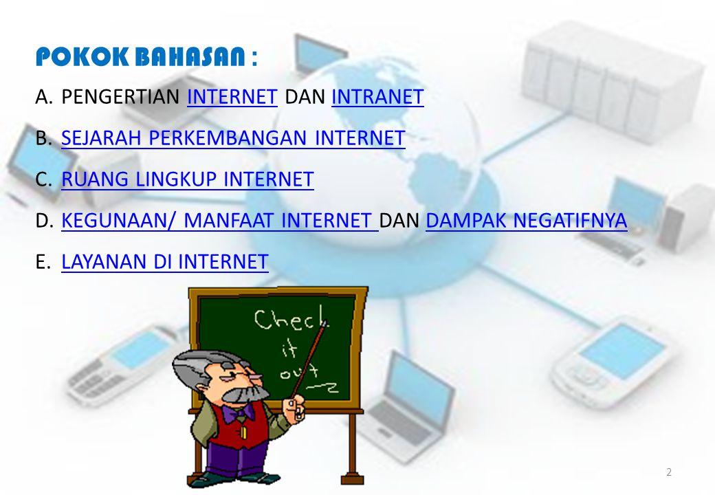 POKOK BAHASAN : PENGERTIAN INTERNET DAN INTRANET