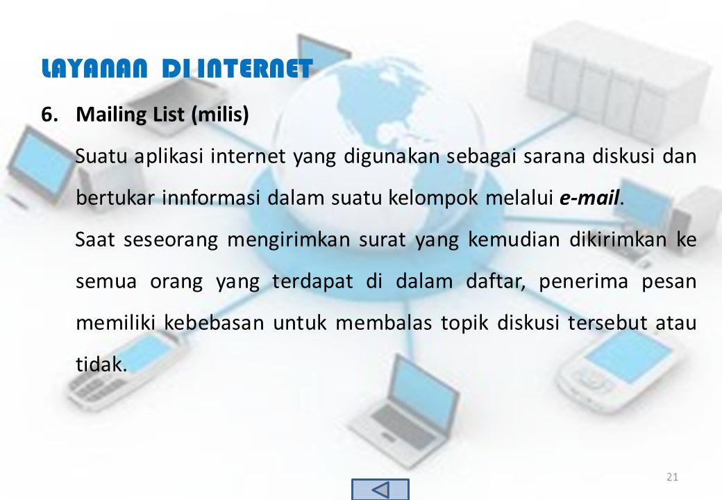 LAYANAN DI INTERNET Mailing List (milis)