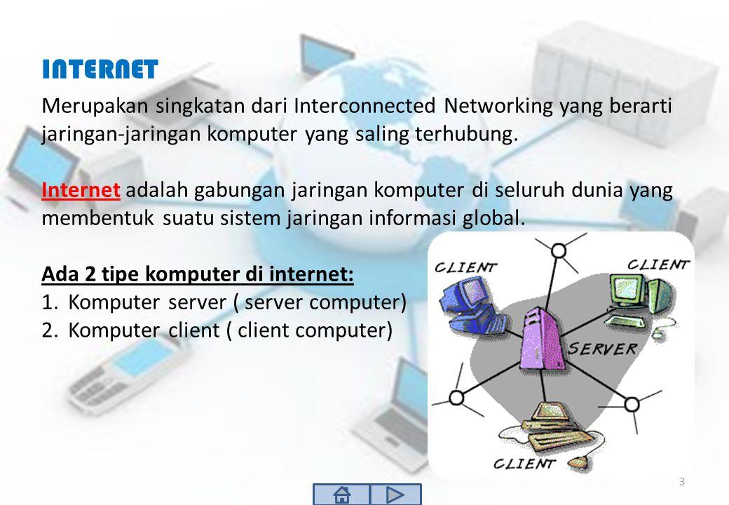 INTERNET Merupakan singkatan dari Interconnected Networking yang berarti jaringan-jaringan komputer yang saling terhubung.